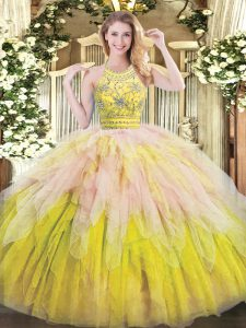 Multi-color Ball Gowns Beading and Ruffles Quinceanera Gowns Zipper Tulle Sleeveless Floor Length