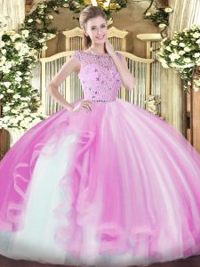 Colorful Lilac Sleeveless Beading and Ruffles Floor Length Sweet 16 Dress