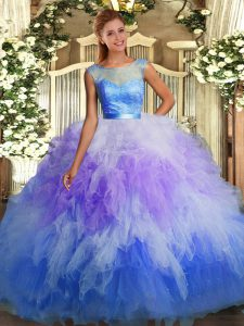 Graceful Multi-color Ball Gowns Tulle Scoop Sleeveless Lace and Ruffles Floor Length Backless 15 Quinceanera Dress