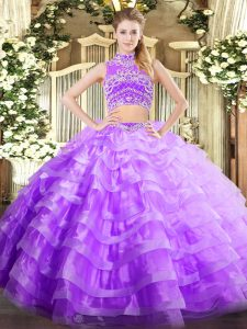 Cute Two Pieces Sweet 16 Quinceanera Dress Lavender High-neck Tulle Sleeveless Floor Length Backless