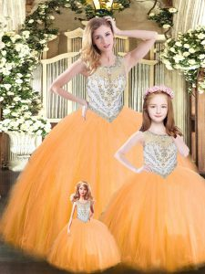 Perfect Orange Red Lace Up Scoop Beading Sweet 16 Quinceanera Dress Tulle Sleeveless