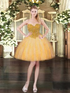 Most Popular Tulle Sleeveless Mini Length Prom Dress and Beading and Ruffles