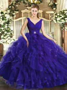 Chic Purple Backless Quince Ball Gowns Beading and Ruffles Sleeveless Floor Length