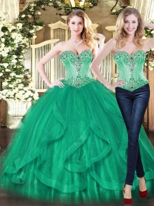 Shining Turquoise Sleeveless Beading and Ruffles Floor Length Sweet 16 Quinceanera Dress