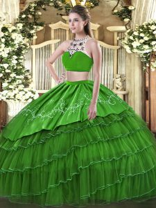 Decent High-neck Sleeveless Sweet 16 Dresses Floor Length Beading and Embroidery and Ruffles Green Tulle