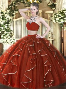 Rust Red Two Pieces High-neck Sleeveless Tulle Floor Length Backless Beading and Ruffles Sweet 16 Quinceanera Dress