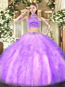 Lavender Sleeveless Tulle Backless Quinceanera Gown for Military Ball and Sweet 16 and Quinceanera