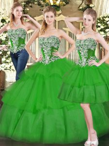 Best Selling Sleeveless Lace Up Floor Length Beading and Ruffled Layers Quinceanera Dresses