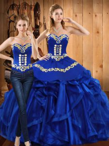 Superior Sleeveless Organza Floor Length Lace Up Quinceanera Dress in Royal Blue with Embroidery and Ruffles