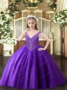 Enchanting Purple Ball Gowns V-neck Sleeveless Tulle Floor Length Lace Up Beading and Appliques High School Pageant Dress