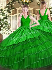 Trendy Ball Gowns Quinceanera Dress Green V-neck Satin and Organza Sleeveless Floor Length Zipper