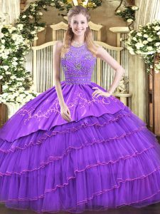 Dazzling Satin and Tulle Halter Top Sleeveless Zipper Beading and Embroidery and Ruffled Layers Sweet 16 Dresses in Lavender