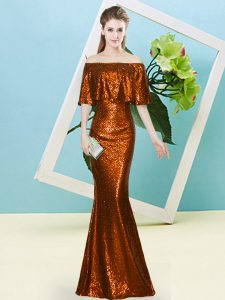 Floor Length Rust Red Evening Dress Sequined Half Sleeves Sequins