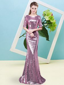 Modern Floor Length Zipper Prom Evening Gown Fuchsia for Prom and Party with Sequins