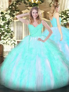 Sexy Aqua Blue Ball Gowns Organza Spaghetti Straps Sleeveless Ruffles Floor Length Zipper Sweet 16 Dresses