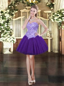 Customized Sleeveless Mini Length Appliques Lace Up Dress for Prom with Purple