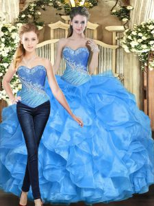 Glamorous Baby Blue Organza Lace Up Quinceanera Dresses Sleeveless Floor Length Beading and Ruffles