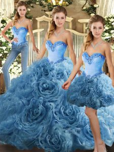 Glittering Sweetheart Sleeveless Lace Up Quince Ball Gowns Baby Blue Fabric With Rolling Flowers
