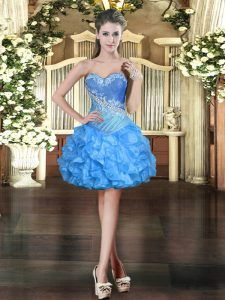 Sleeveless Mini Length Beading and Ruffles Lace Up Prom Dresses with Baby Blue