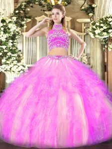 Lilac Two Pieces High-neck Sleeveless Tulle Floor Length Backless Beading and Ruffles Vestidos de Quinceanera