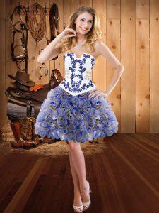 Multi-color Ball Gowns Embroidery Evening Dress Lace Up Fabric With Rolling Flowers Sleeveless Mini Length