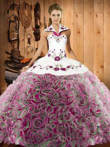 Stunning Multi-color Quinceanera Dresses Military Ball and Sweet 16 and Quinceanera with Embroidery Halter Top Sleeveless Sweep Train Lace Up