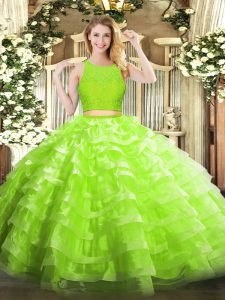 Yellow Green Zipper Scoop Lace and Ruffled Layers Quinceanera Gowns Organza Sleeveless