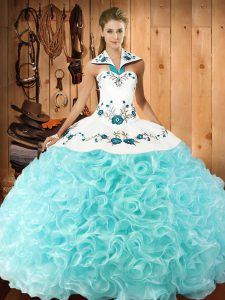 Most Popular Aqua Blue Ball Gowns Halter Top Sleeveless Fabric With Rolling Flowers Floor Length Lace Up Embroidery Quinceanera Dresses