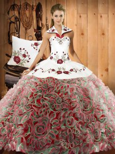 Traditional Sleeveless Embroidery Lace Up Quinceanera Gown with Multi-color Sweep Train