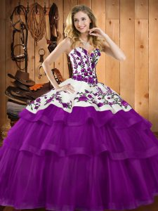 Shining Tulle Sweetheart Sleeveless Lace Up Embroidery and Ruffles Quinceanera Dress in Purple