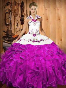 Gorgeous Fuchsia Quinceanera Dress Military Ball and Sweet 16 and Quinceanera with Embroidery and Ruffles Halter Top Sleeveless Lace Up