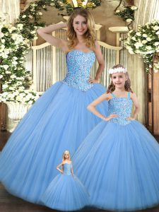 Cheap Tulle Sweetheart Sleeveless Lace Up Beading Vestidos de Quinceanera in Baby Blue
