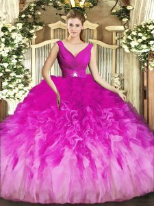 Sleeveless Backless Floor Length Beading and Ruffles Sweet 16 Quinceanera Dress