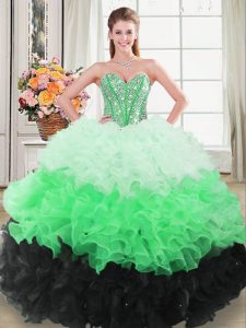 Best Multi-color Lace Up Sweetheart Beading and Ruffles Sweet 16 Quinceanera Dress Organza Sleeveless