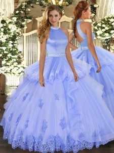 Sleeveless Tulle Floor Length Backless Quinceanera Dresses in Lavender with Beading and Appliques