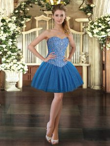 Great Blue Prom Evening Gown Prom and Party with Beading Sweetheart Sleeveless Lace Up