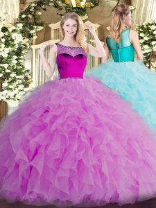 Classical Scoop Sleeveless Zipper Quinceanera Gowns Lilac Organza