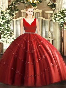 Traditional Tulle Sleeveless Floor Length Quinceanera Dresses and Beading