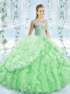 Designer Apple Green Sweetheart Neckline Beading and Ruching 15th Birthday Dress Sleeveless Lace Up