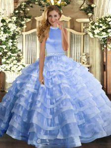 Floor Length Backless Sweet 16 Dresses Blue for Military Ball and Sweet 16 and Quinceanera with Beading and Ruffled Layers