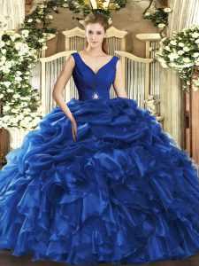 Discount Sleeveless Backless Floor Length Beading and Ruffles Ball Gown Prom Dress