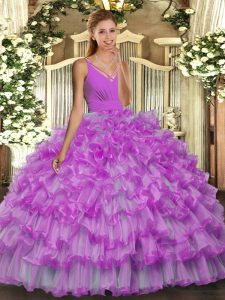 Sleeveless Organza Floor Length Backless Vestidos de Quinceanera in Lilac with Beading and Ruffles