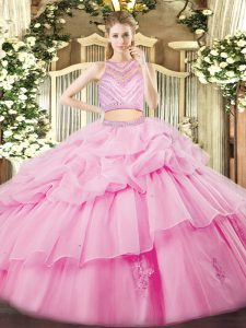 Cute Rose Pink High-neck Zipper Beading and Ruffles Sweet 16 Dresses Sleeveless