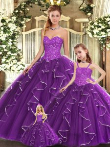 Discount Floor Length Purple Quinceanera Gowns Sweetheart Sleeveless Lace Up