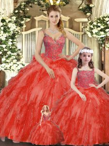 Captivating Sleeveless Organza Floor Length Lace Up Vestidos de Quinceanera in Red with Beading and Ruffles