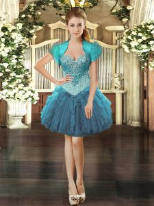 Artistic Teal Sleeveless Organza Lace Up Prom Gown for Prom and Party