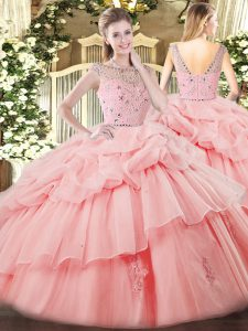 High Quality Baby Pink Tulle Zipper Sweet 16 Quinceanera Dress Sleeveless Floor Length Beading and Ruffles and Pick Ups