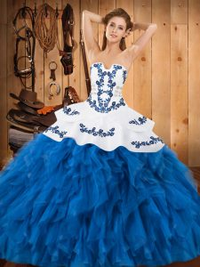 Strapless Sleeveless Quinceanera Dress Floor Length Embroidery and Ruffles Blue And White Satin and Organza