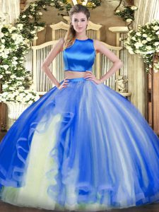 Most Popular Tulle High-neck Sleeveless Criss Cross Ruffles 15 Quinceanera Dress in Blue