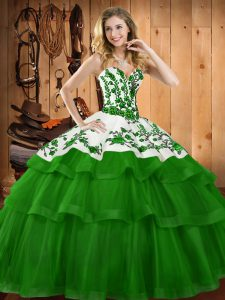 Delicate Lace Up Quinceanera Gown Dark Green for Military Ball and Sweet 16 and Quinceanera with Embroidery Sweep Train